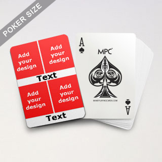 4 Photo & Text Collage White Back Custom MPC Poker Deck