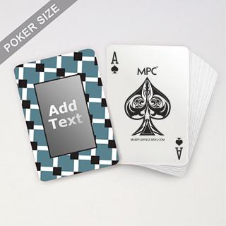Custom Black Blue Initials Playing Cards